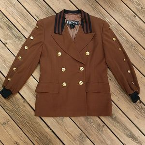 Vintage Escada Wool Suit Jacket with Gold Buttons